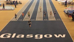 Competitors race to the finish at the Glasgow event.