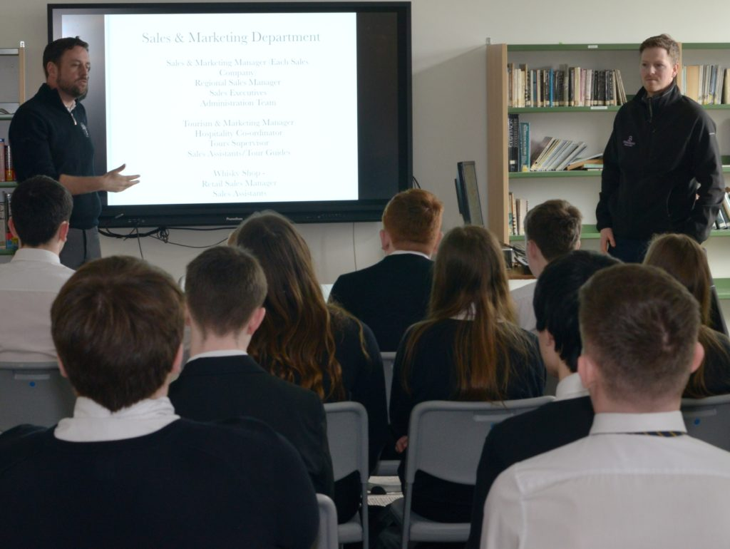 Springbank's director of Sales and marketing Ranald Watson and director of production Findlay Ross talk to CGS S4 pupils.
