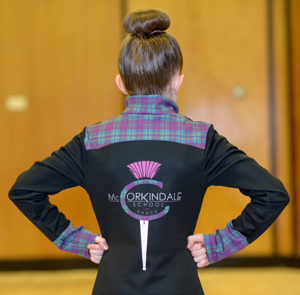 The reverse of the James McCorkindale School of Dancing's tracksuits for their visit to the American Highland Dancing Championships in Las Vegas.