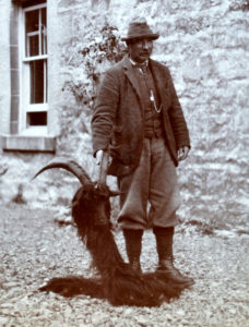 Donald MacPhail, head stalker at Lochbuie, Mull with a wild goat shot about 1890. Photograph: Iain Thornber