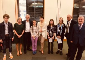 Holly and the other youth climate activists with UK political party leaders. NO-F18-Holly-Greta-03