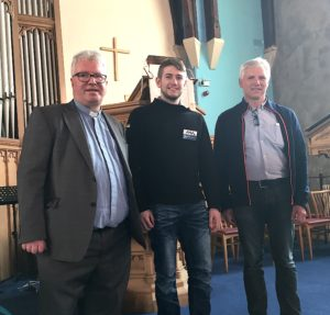 The Re Richard Baxter welcomes Evald, first mate aboard the Juvel II and Thorvald to the Duncansburgh MacIntosh Church in Fort William. NO F19 Atlantic Mission Duncansborough 02