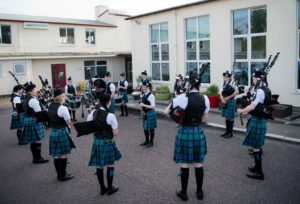 Lochaber Schools Pipe Band kept the fete-goers entertained. NO F21 Banavie fun night (Lochaber schools pipe band)