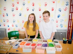 Holly and Jack who were making keyrings to raise money. NO F21 Banavie fun night keyrings