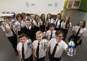 Pupils of Lochaber High School will now be fully hydrated thanks to water bottles which can be filled at their newly installed fountains. Picture iain Ferguson, alba.photos NO F22 Lochaber High Water Bottles 02