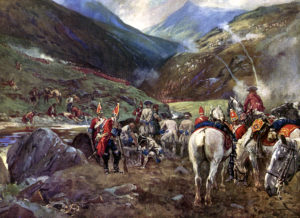 The battle of Glen Shiel from a painting by Lionel Edwards. Copyright: the Lionel Edward Estate