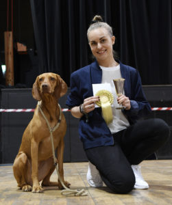 Winner of the Novelty Dog Show section. Hungarian Visla, Becca, orignally from Spain, with her Norweigan owner, Janne Huun. Picture Iain Ferguson, alba.photos NO F29 DOG SHOW 01
