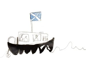 A postcard created by the youngsters on South Uist. NO F29 boat 1 south uist