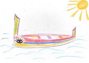 A postcard drawn by children on Malta, also depicting a boat. NO F29 boat 2 malta