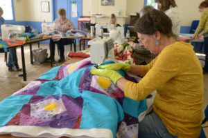 Eyes down and let sewing commence. Busy hands at the quilt making event. Picture Iain Ferguson, alba.photos NO F30 Quilting class 02