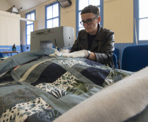 Claire MacLeod busy at work. Picture Iain Ferguson, alba.photos NO F30 Quilting class 03