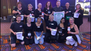 The bucket collectors who took in donations for Lochaber Mountain Rescue Team at the Proclaimers concert in Watford. NO F34 proclaimers bucket collectors
