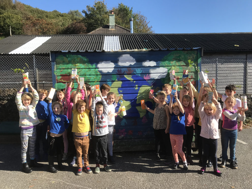 Pupils at Dervaig Primary School planted their own tree saplings and seeds in recycled cartons. NO_T40_Dervaig01