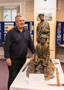 Artist Stephen Tinney with his maquette of how the finished work will look. NO F40 Collie MacKenzie Stephen Tinney