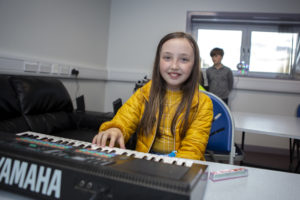 Musical instruments are also available to the youngsters. Photograph: Sandie MaciverSandiePhotos NO F41 Sandwick Youth Club 02