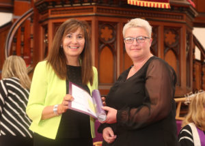 Elspeth Robertson congratulates Angela Louch.