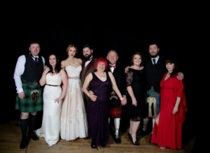Some of those who attended the charity ball. Photograph: Abrightside Photography. NO F46 wedding Ball goers group photo