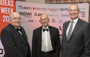 Fraser Copeland, CEO of Lochaber Chamber of Commerce, left, with guest speakers, Mike Stevenson, centre, and Riddell Graham of VisitScotland at the Gala Dinner on Friday evening which rounded off this year's Lochaber Ideas Week.. Photograph: Iain Ferguson, alba.photos NO F48 Ideas week guest speakers