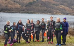 The 'loony dookers' at Strontian. NO F02 Strontian swim 01