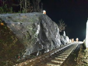 Work is underway to minimise the threat of rock falls and landslips along this section of the famous rail line. NO F04 Glenfinnan viaduct 02