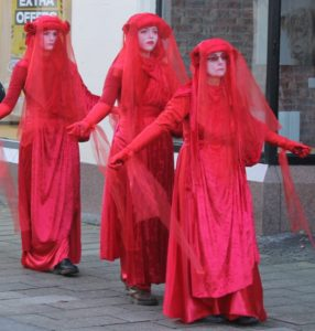Members of the Red Rebels protest group also took part in climate crisis events in Fort William last year. NO-F04-Red-Rebels-02