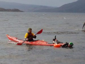 Rescues were practised using kayaks. NO F05 open swimming 03