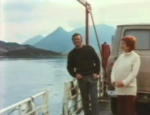 Kirk Douglas and co-star Marlene Jobert aboard the ferry at Ballachulish. NO F07 Kirk Douglas aboard ferry with Marlene Jobert