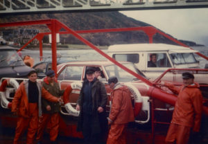 Peter MacKenzie, pictured centre in black waterproofs, was skipper of the ferry at Ballachulish for 40 years. Photograph: Kate Ward. NO F07 Peter MacKenzie on ferry