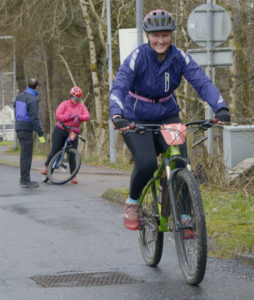 Lisa Mitchell-Harding starts the cycling challenge in Glen Nevis. Photograph: Iain Ferguson, alba.photos NO F13 WEE TRIATHLON CYCLING
