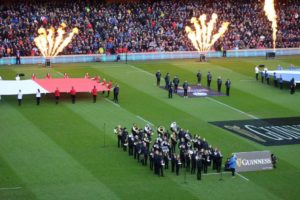 Campbeltown Brass on the pitch before the match kicked off.