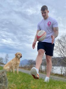 Lochaber RFC player Jonathan McCook does keepy up with a rugby ball. Photograph: Iain Ferguson, alba.photos NO F15 Keepy Up Jonathan McCook rugby (1)