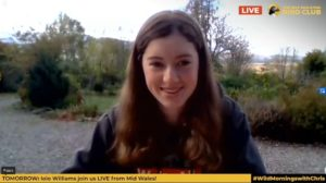 Holly speaking via internet link from her home outside Fort William to Chris Packham on his live online Facebook show on Monday. NO F19 holly and chris 01