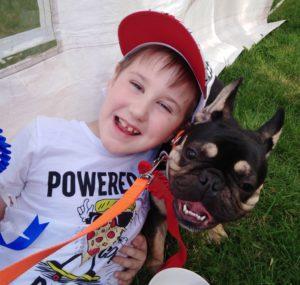 Harvey Smith with dog Rockatanksy.