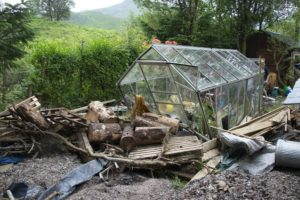 The disabled access greenhouse beside the devastated site of the wooden castle and tree house PICTURE IAIN FERGUSON, THE WRITE IMAGE. NO F27 FLASH FLOOD HIT CHARITY 05