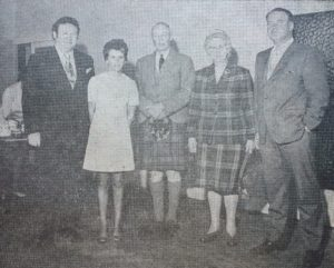 Fifty years ago: The group is, from left to right: Mr Alasdair McMillan, on holiday in Campbeltown from Los Angeles, U.S.A., Mrs Patsy McMillan, South Africa; General Sir George MacMillan, clan chief, Mrs N.L. McMillan, Campbeltown and her son, Mr Neil McMillan from Ontario, Canada.