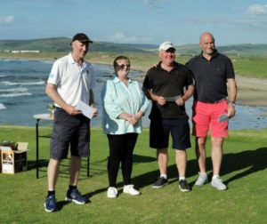Runners up Donald Laing, Allan Cross and Fergus Wallace with Sheena Robertson. John McLean is missing from the photograph.