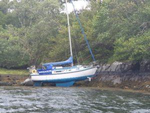 The yacht Pegasus aground near Eilean Donan Castle. NO F36 Pegasus Aground