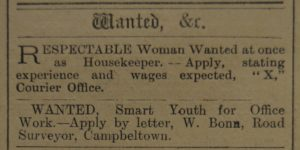 In 1920: How times have changed - advertisements in 1920 seeking a 'respectable woman' and a 'smart youth'.