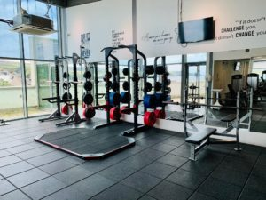 Gym equipment has been spaced out and numbers of users restricted to allow for distancing.