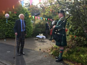 A piper from 7 SCOTS performed for Lt Col Cameron on his 100th birthday last week. NO F41 CAC 100 Birthday 2