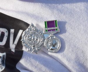 Emelie was presented with her own mini Argyll and Sutherland Highlanders pin and Northern Irish medal in honour of her grandpa Jackie's serve in Northern Ireland.