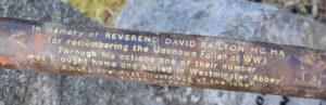 The inscription on the spear presented to the church at Onich. Photograph: Iain Ferguson alba.photos NO-F46-Rev-Railton-ribbon.jpg