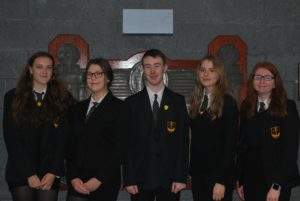 The school's vice captains, from left: Lizzie Bell, Andreea Malai, Andrew McMillan, Melissa Chambers and Mary Thomson.