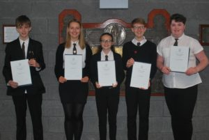 The new junior captains, from left: Douglas Kenny, Iona Renton, Amy Ross, Calum Scott and Aimee MacPhail. Niamh McSporran is missing from the photograph.