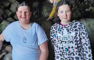 The girls will be supported throughout their sponsored walk by Jade McCallum, left, and Adelle McGeachy, right.
