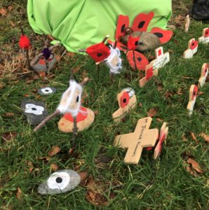 Pupils from the school and nursery made crosses remembering family members and animals lost in war, as well as symbolising peace.