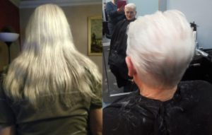Neil was 'immensely proud' of his long hair, left, but wife Lorraine thinks his new do, right, takes ten years off him.