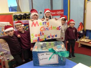 Southend Primary School pupils with their box for Kintyre Food Bank.