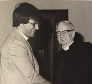 Rodger Crooks after his ordination, with Reverend S D McCaughey, minister of High Kirk Presbyterian Church, Ballymena.