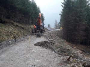 What remained of the forest road after the January 2020 landslip.
